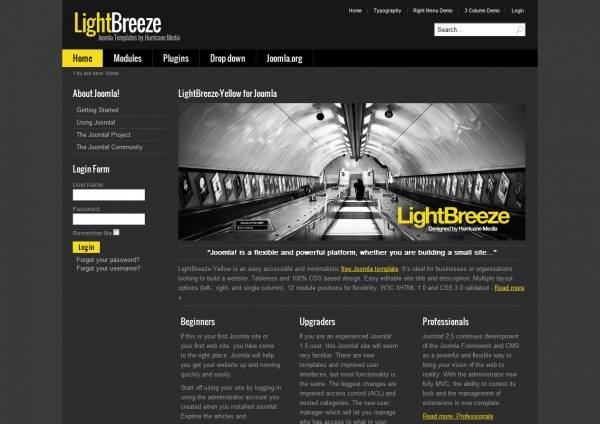 LightBreeze-Yellow: шаблон портала для Joomla 2.5