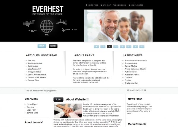 Everhest Black: шаблон бизнес сайта для Joomla 2.5