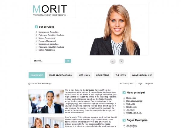 Morit Blue: шаблон сайта о работе для Joomla 2.5