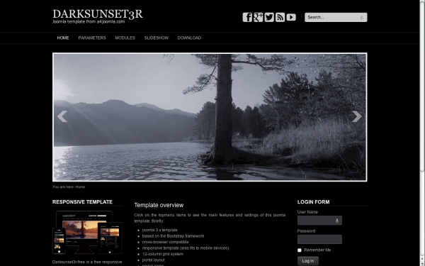 Darksunset3R: шаблон туристической тематики для Joomla 3.0